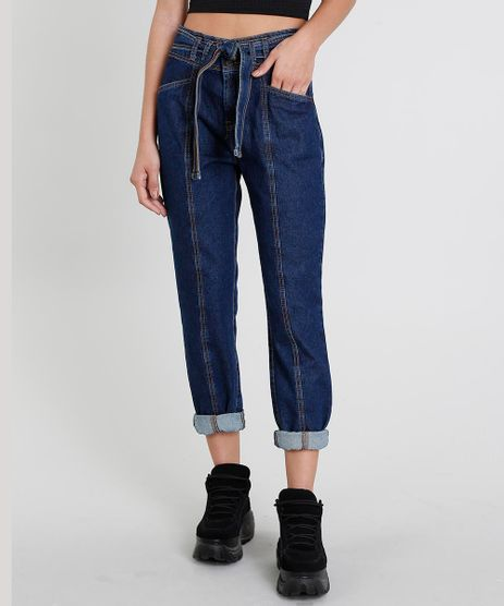 Calca-Jeans-Feminina-Mom-Clochard-com-Faixa-para-Amarrar-Azul-Escuro-9463410-Azul_Escuro_1