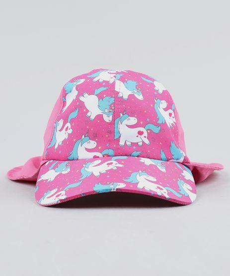 Bone-Infantil-Aba-Curva-Com-Estampa-de-Unicornio-e-Protetor-Pink-9465575-Pink_1