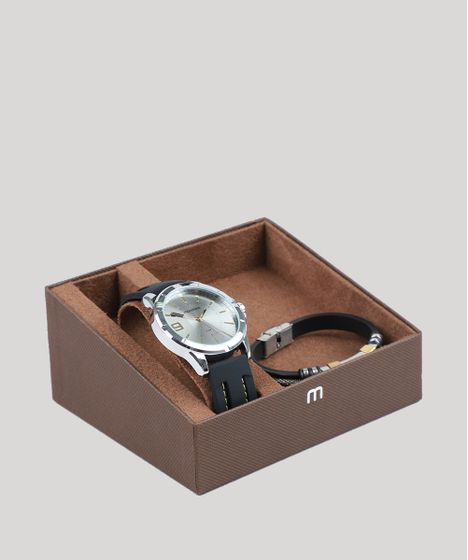 723d4ab1b79 Kit de Relógio Analógico Mondaine Masculino + Pulseira - 99376G0MVNI1K  Prateado - cea