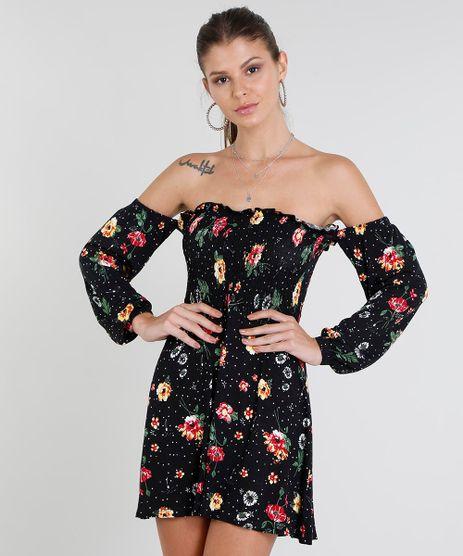88a4f88e2421b Vestido-Feminino-Curto-Ombro-a-Ombro-Estampado-Floral-