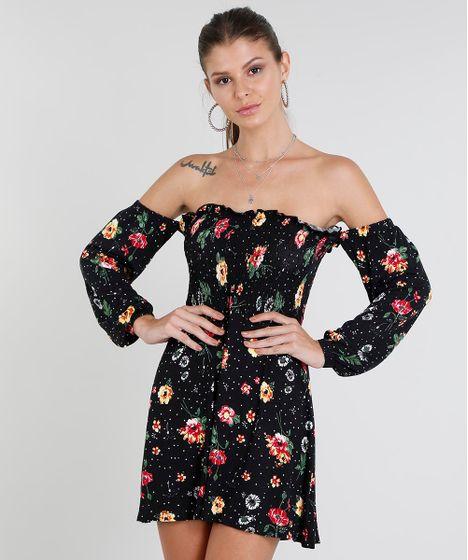 bd3b38a53 Vestido Feminino Curto Ombro a Ombro Estampado Floral Manga Longa ...