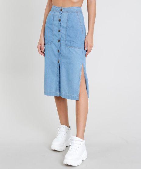 4f629aa8c Saia-Jeans-Feminina-Midi-com-Botoes-e-Fendas-
