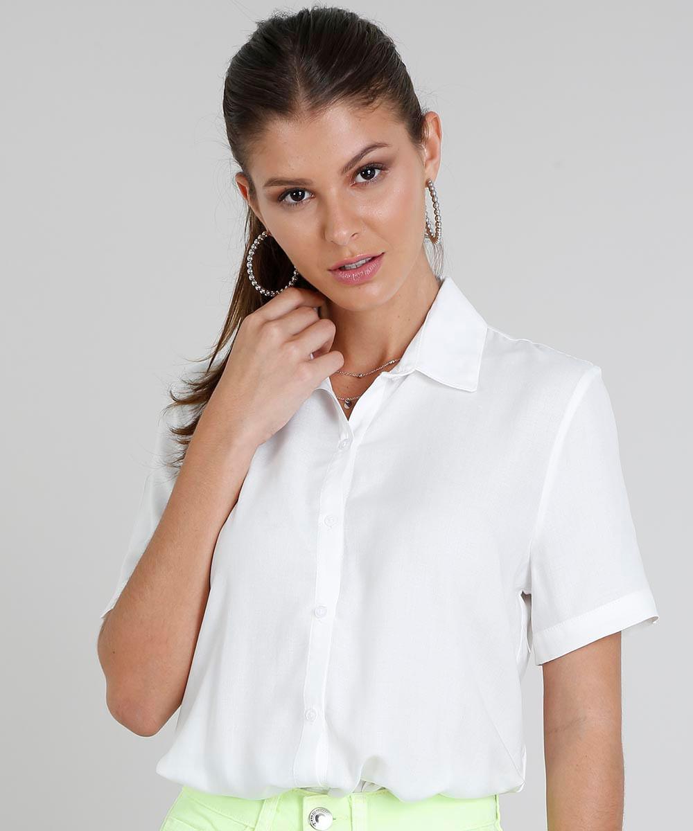 830af499ef ... Camisa-Feminina-Ampla-Manga-Curta-Off-White-9472298-