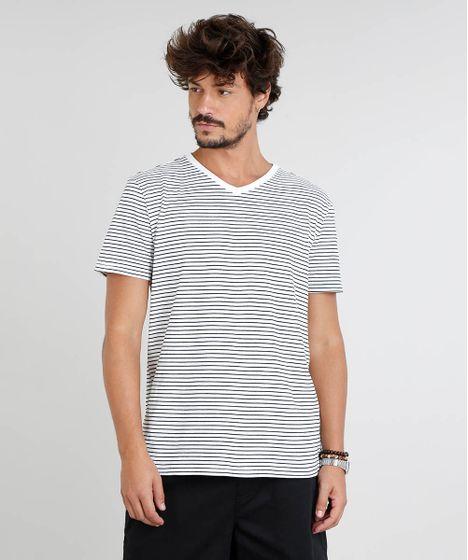42cd039499 Camiseta Masculina Básica Listrada Manga Curta Gola V Off White - cea