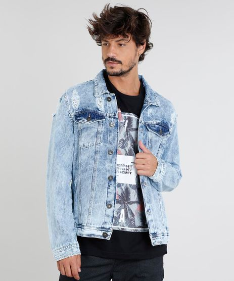 Jaqueta-Jeans-Masculina-Trucker-com-Bolsos-e-Rasgos-Azul-Claro-9449454-Azul_Claro_1