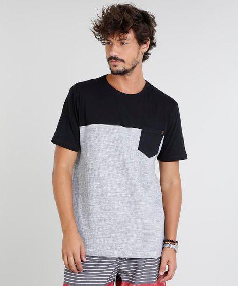 Camiseta-Masculina-com-Recorte-e-Bolso-Manga-Curta-Gola-Careca-Preta-9463102-Preto_1