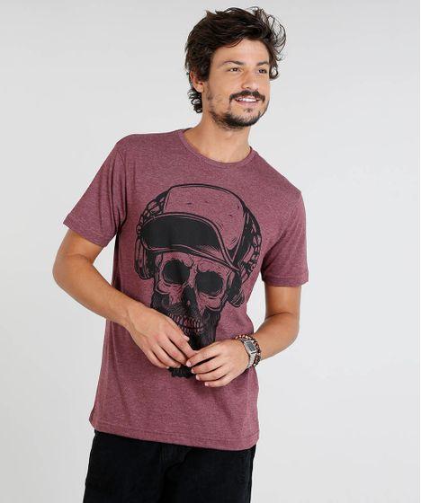 ad8683a43 Camiseta Masculina com Estampa de Caveira Manga Curta Gola Careca ...