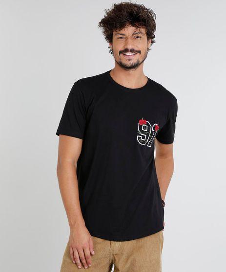 Camiseta-Masculina-com-Bordado-de-Rosa-Manga-Curta-Gola-Careca-Preta-9447031-Preto_1