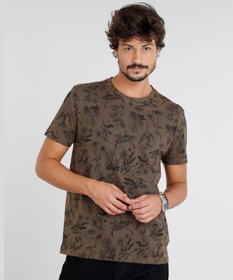 Camiseta-Masculina-Estampada-de-Folhas-Manga-Curta-Gola-Careca-Marrom-9460501-Marrom_1