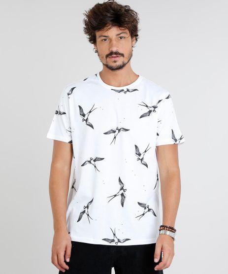 Camiseta-Masculina-Estampada-de-Passaros-Manga-Curta-Gola-Careca-Off-White-9472830-Off_White_1