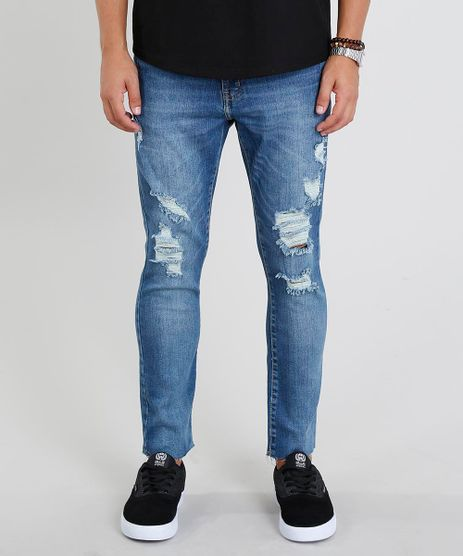 Calca-Jeans-Masculina-Carrot-Cropped-Destroyed-Azul-Medio-9439588-Azul_Medio_1