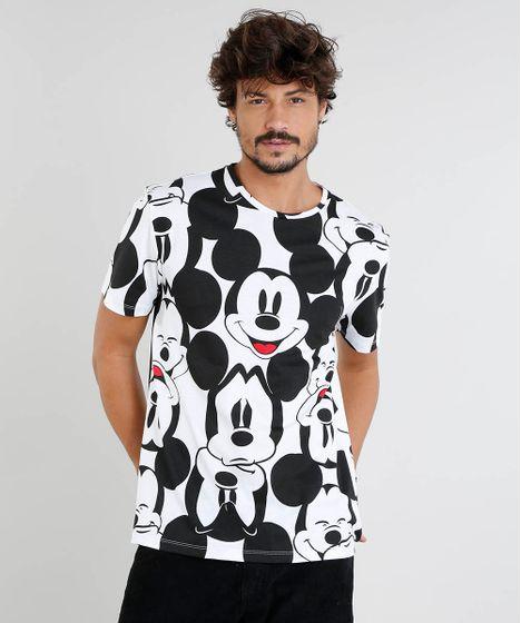 3f246d441 Camiseta Masculina Mickey Estampada Manga Curta Gola Careca Off ...