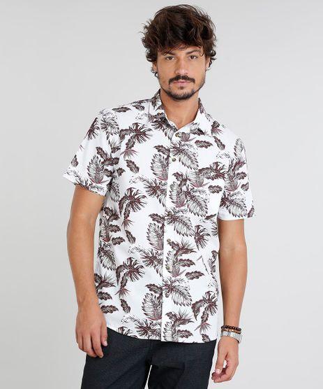 Camisa-Masculina-Estampada-de-Folhagem-com-Bolso-Manga-Curta-Branca-9367429-Branco_1