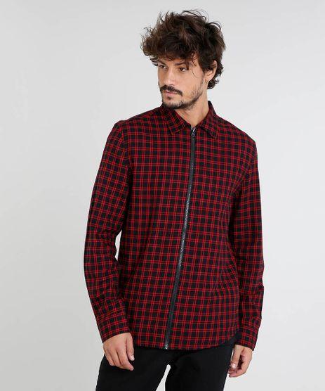 Camisa-Masculina-em-Flanela-Estampada-Xadrez-com-Ziper-Manga-Longa-Preta-9383365-Preto_1