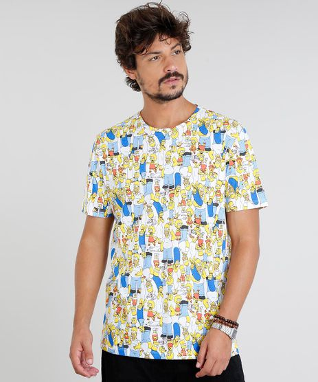 Camiseta-Masculina-Os-Simpsons-Estampada-Manga-Curta-Gola-Careca-Off-White-9434506-Off_White_1