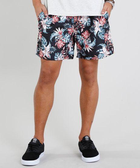Short-Masculino-Estampado-Floral-com-Bolsos-Preto-9336815-Preto_1