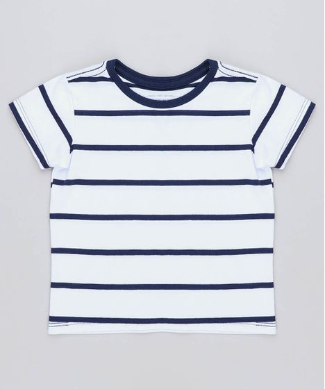 8b23ce394801c Camiseta Infantil Listrada Manga Curta Gola Careca Branca - cea