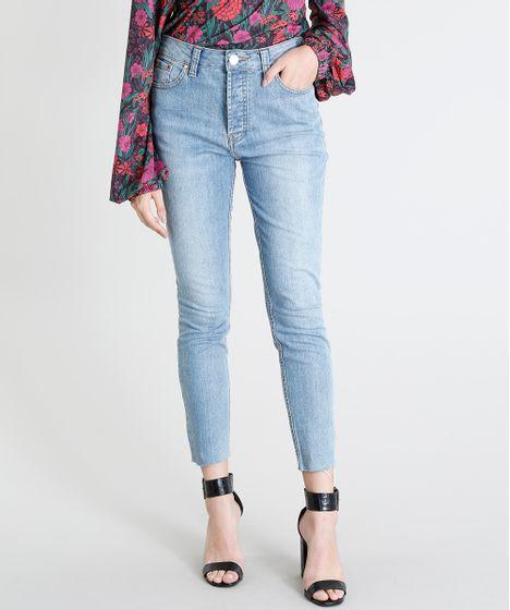 64bc35f5c Calça Jeans Feminina Mindset Skinny Cintura Alta Barra Desfiada Azul ...