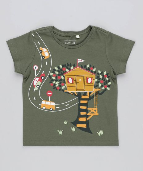 Camiseta-Infantil-com-Estampa-Interativa-de-Casa-Manga-Curta-Gola-Careca-Verde-Militar-9441595-Verde_Militar_1