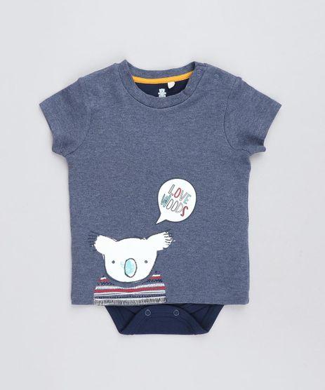 Body-Camiseta-Infantil-com-Estampa-de-Coala-Manga-Curta-Gola-Careca-Azul-9205094-Azul_1