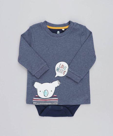 Body-Camiseta-Infantil-com-Estampa-de-Coala-Manga-Longa-Gola-Careca-Azul-9205090-Azul_1