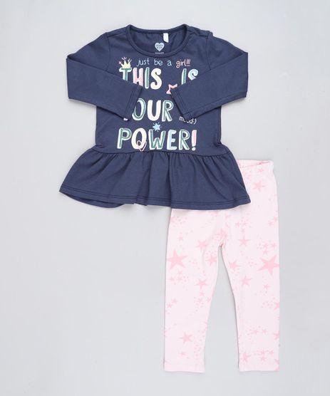Conjunto-Infantil-de-Blusa-Manga-Longa-Azul-Marinho---Calca-Legging-Estampada-de-Estrelas-Rosa-Claro-9425669-Rosa_Claro_1