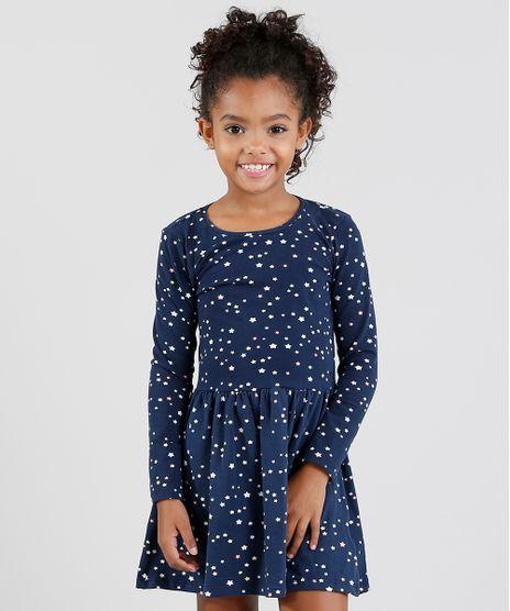 7dc42d5ae6 Vestido-Infantil-Estampado-de-Estrelas-Manga-Longa-Azul-