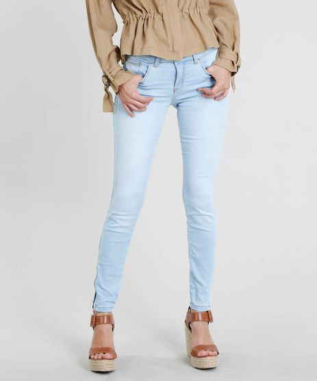 Calca-Jeans-Feminina-Super-Skinny-com-Ziper-na-Barra-Azul-Claro-8785175-Azul_Claro_1