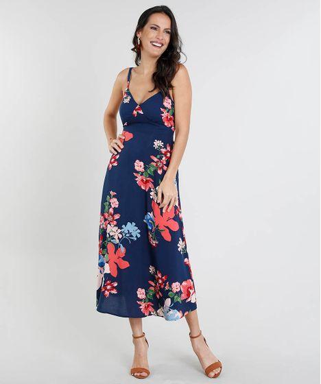f10debb438 Vestido Feminino Midi Estampado Floral Alça Fina Azul Marinho - cea