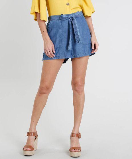 Short-Jeans-Feminino-com-Bolsos-e-Faixa-para-Amarrar-Azul-Medio-9493340-Azul_Medio_1