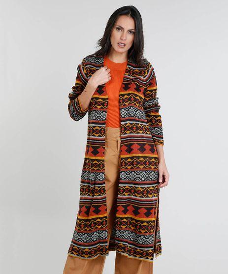 Capa-Feminina-Longa-Estampada-Etnica-com-Fendas-em-Trico-Preta-9361271-Preto_1