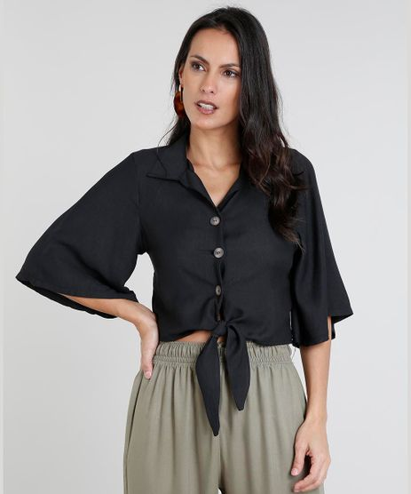 Camisa-Feminina-Cropped-com-No-Manga-Curta-Preta-9460408-Preto_1