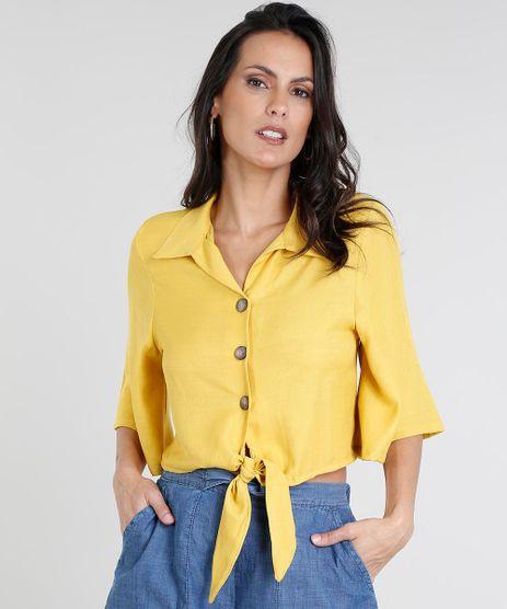 Camisa-Feminina-Cropped-com-No-Manga-Curta-Mostarda-9460408-Mostarda_1
