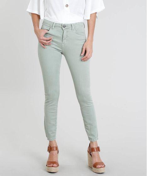 98c7d547a Calça de Sarja Feminina Super Skinny Cintura Média Verde Claro - cea