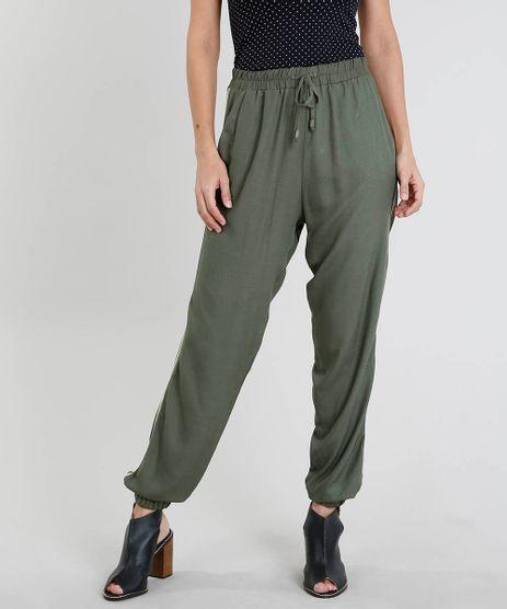 Calca-Feminina-Jogger-com-Faixa-Lateral-e-Cordao-Verde-Militar-9452642-Verde_Militar_1