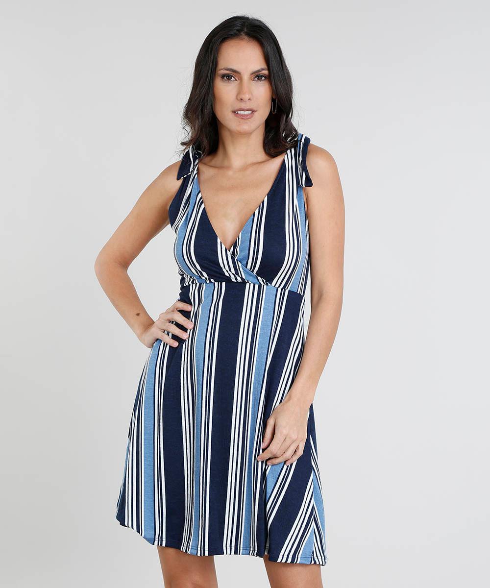 23fb6105c Vestido Feminino Curto Listrado com Nó nas Alças Decote V Azul - cea