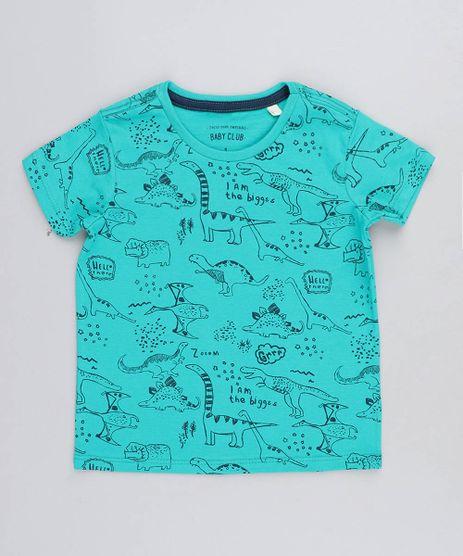 Camiseta-Infantil-Estampada-de-Dinossauros-Manga-Curta-Gola-Careca-Verde-9466685-Verde_1