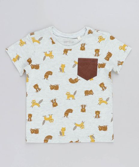 Camiseta-Infantil-Estampada-de-Bichos-com-Bolso-Manga-Curta-Gola-Careca-Cinza-Mescla-Claro-9428857-Cinza_Mescla_Claro_1