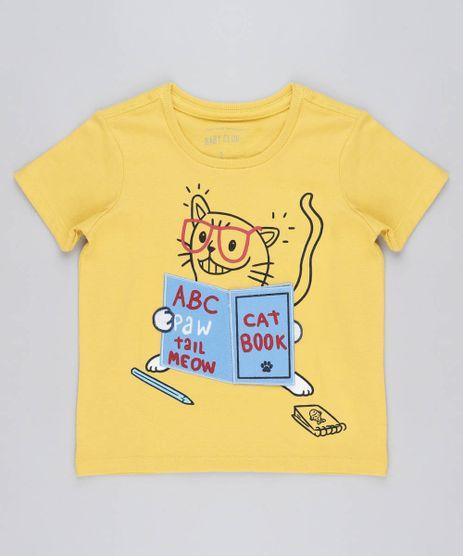 Camiseta-Infantil-com-Estampa-Interativa-de-Gato-Manga-Curta-Gola-Careca-Amarela-9441594-Amarelo_1