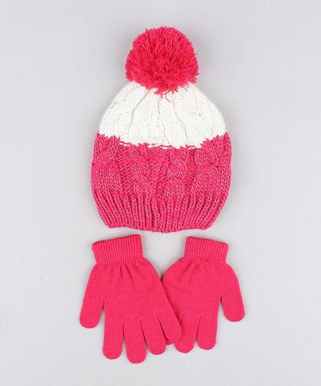 Kit-de-Gorro-Infantil-com-Pompom-e-Lurex----Luva-em-Trico-Pink-9358409-Pink_1