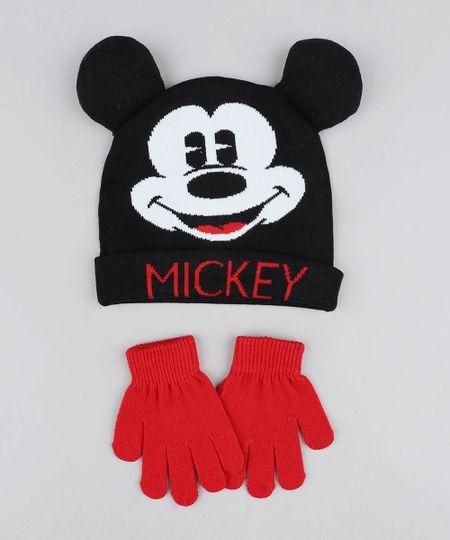 5aefc4526bbbf Kit de Gorro Infantil Mickey com Orelhas + Luvas em Tricô Preto - cea