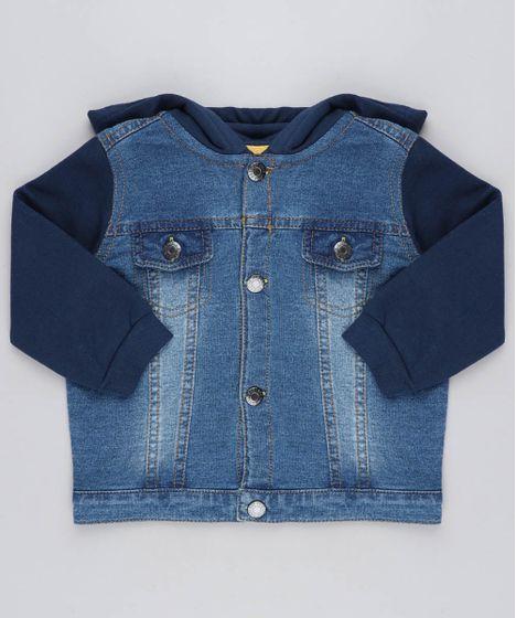 54e456658 Jaqueta Jeans Infantil com Capuz em Moletom Azul Escuro - cea