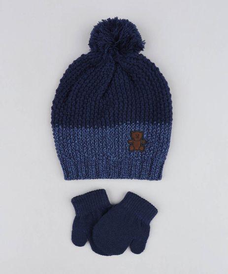 Kit-de-Gorro-Infantil-com-Pompom---Luva-em-Trico-Azul-Marinho-9358314-Azul_Marinho_1