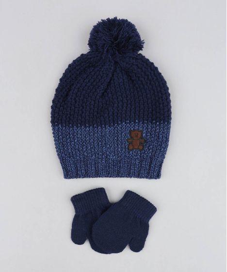 984cc73b09 Kit de Gorro Infantil com Pompom + Luva em Tricô Azul Marinho - cea