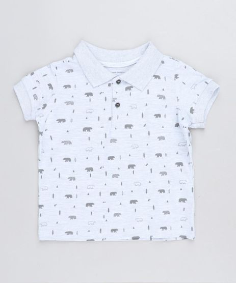 Polo-Infantil-Estampada-de-Ursos-em-Piquet-Manga-Curta-Cinza-Mescla-Claro-9441600-Cinza_Mescla_Claro_1