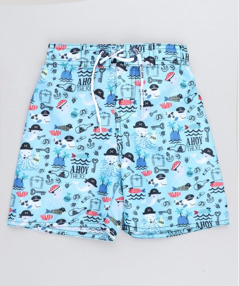b01e7255f Bermuda Surf Infantil Estampada Piratas Fundo do Mar Azul Claro - cea