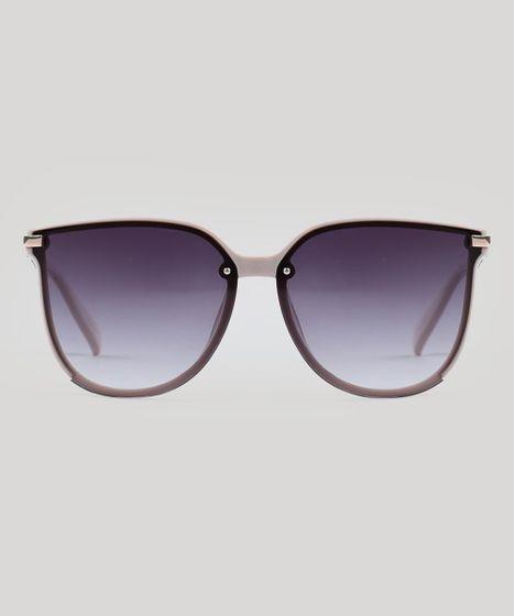 91c2c352e Óculos de Sol Quadrado Feminino Oneself Bege Claro - cea