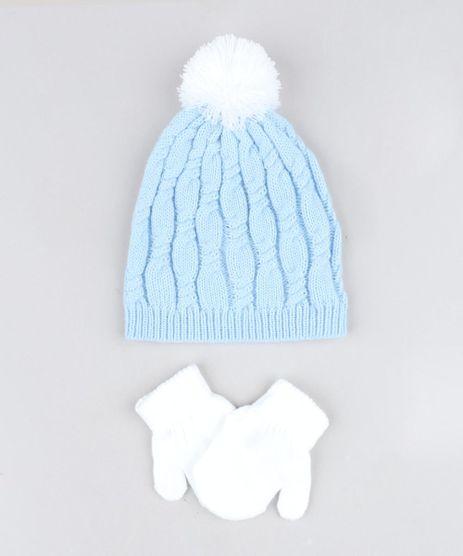 Kit-de-Gorro-Infantil-com-Pompom---Luva-em-Trico-Azul-Claro-9369023-Azul_Claro_1