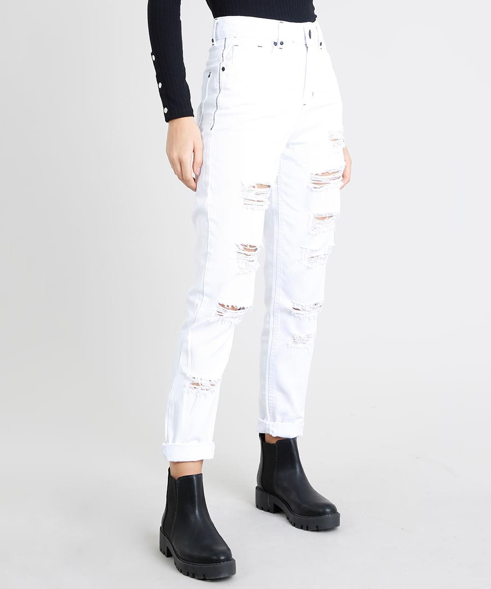 00da17356b Calça de Sarja Feminina Mom Pants Destroyed Branca - cea