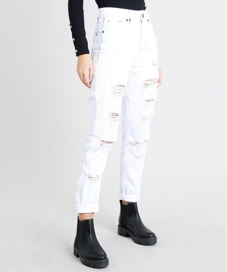 fb213c214 Calça de Sarja Feminina Mom Pants Destroyed Branca - cea